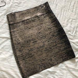 Black and Metallic Gold BGBG mini bandage skirt